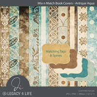 Book Covers - Antique Aqua
