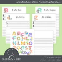 Animal Alphabet Writing Practice Templates